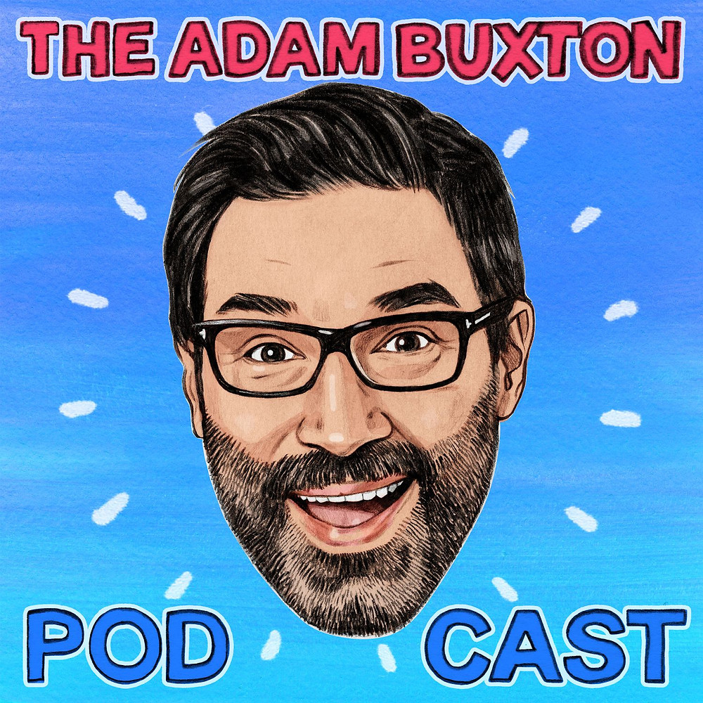 Illustration of Adam's smiling bearded face with text reading The Adam Buxton Podcast