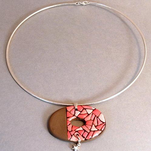 Collier perle sur fil d'argent rigide Pendentif en céramique artisanale