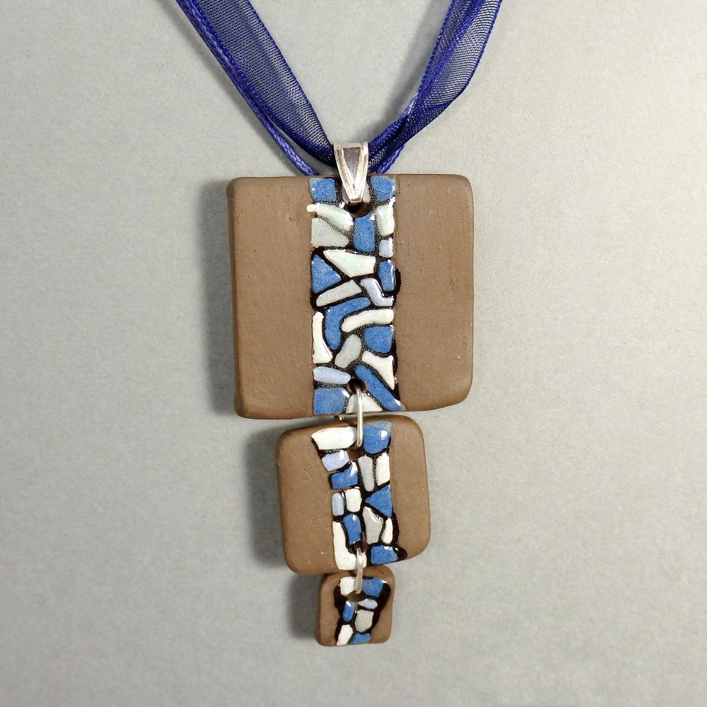 Collier bleu céramique argent