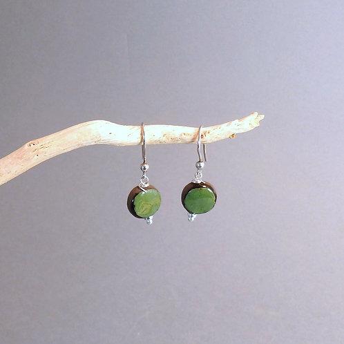 Boucles d'oreilles rond vert et noir sur argent Céramique Création a