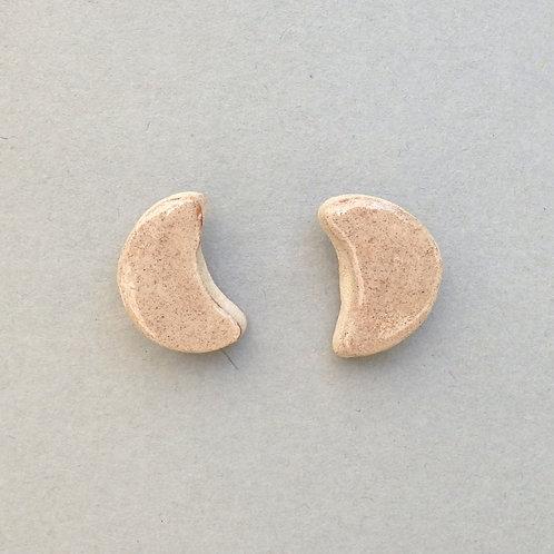 Clous d'oreilles lune brune sur argent Céramique Création artisanale