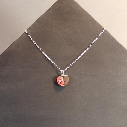 Collier perle rouge en céramique avec tige bélière sur chaîne en argent