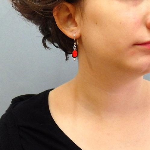 Boucles d'oreilles goutte rouge et noir sur argent Céramique Création ar
