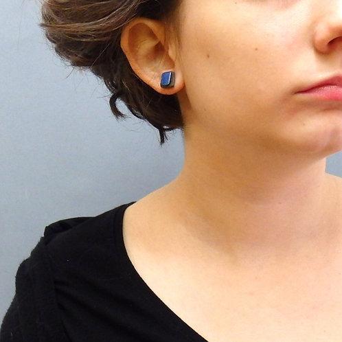 Clous d'oreilles carré bleu sur argent Céramique Création artisanale