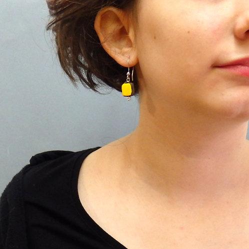 Boucles d'oreilles carré jaune et noir sur argent Céramique Créa