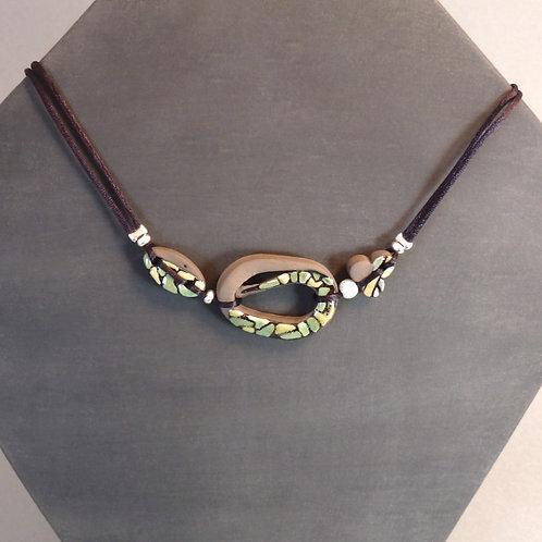 Copie de Collier vert 3 perles en céramique et argent