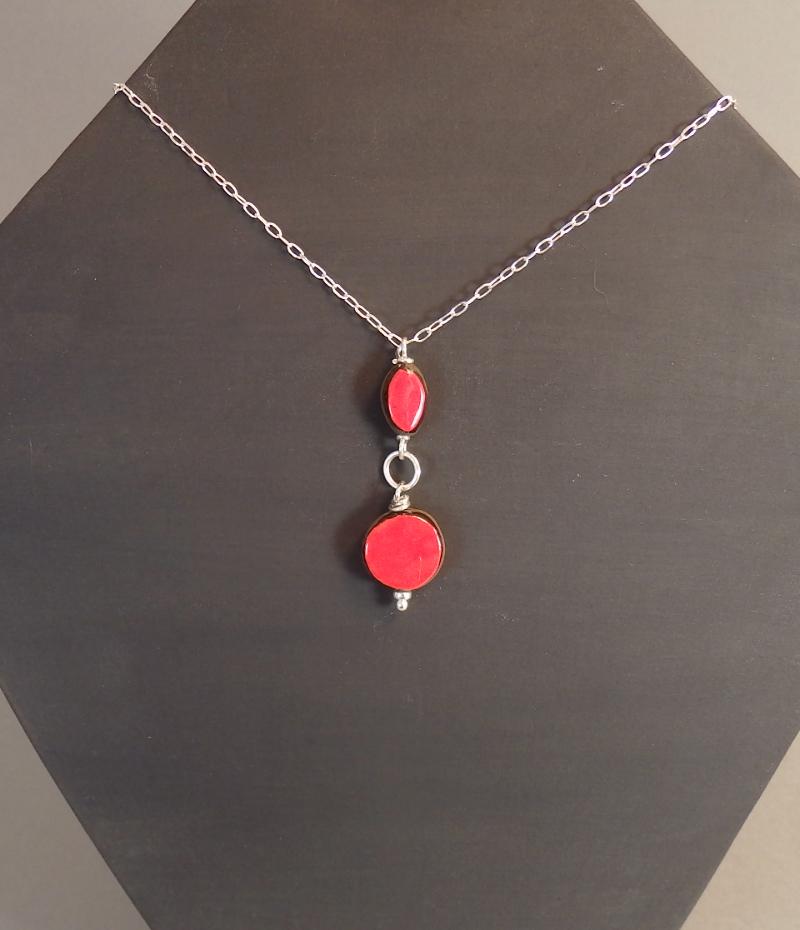 Collier Rouge sur argent 925