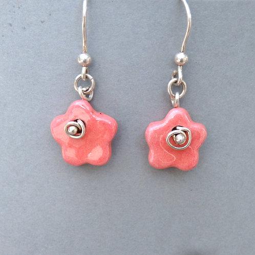Boucles d'oreilles fleur rose sur argent Céramique Création a