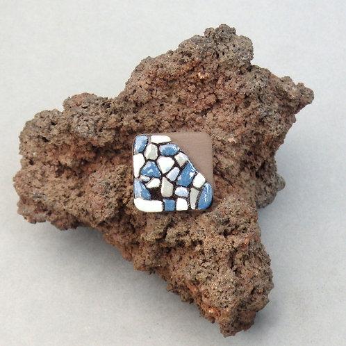 Bague carrée bleue et noire en céramique Création artisanale