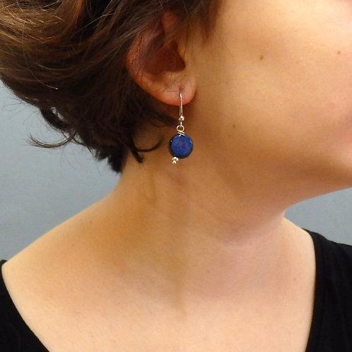 Boucles d'oreilles rond bleu et noir sur argent Céramique Création a