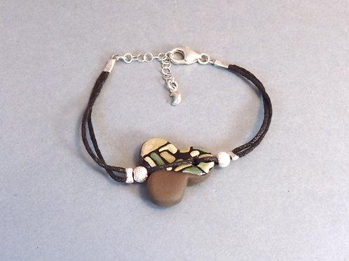 Bracelet céramique trèfle vert et noir Création artisanale