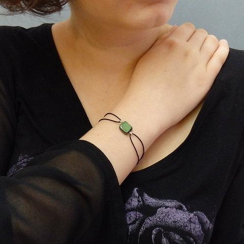 Bracelet céramique carré vert et noir Création artisanale