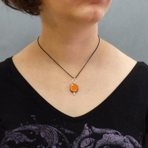 Collier rond orange Pendentif en céramique Création artisanale