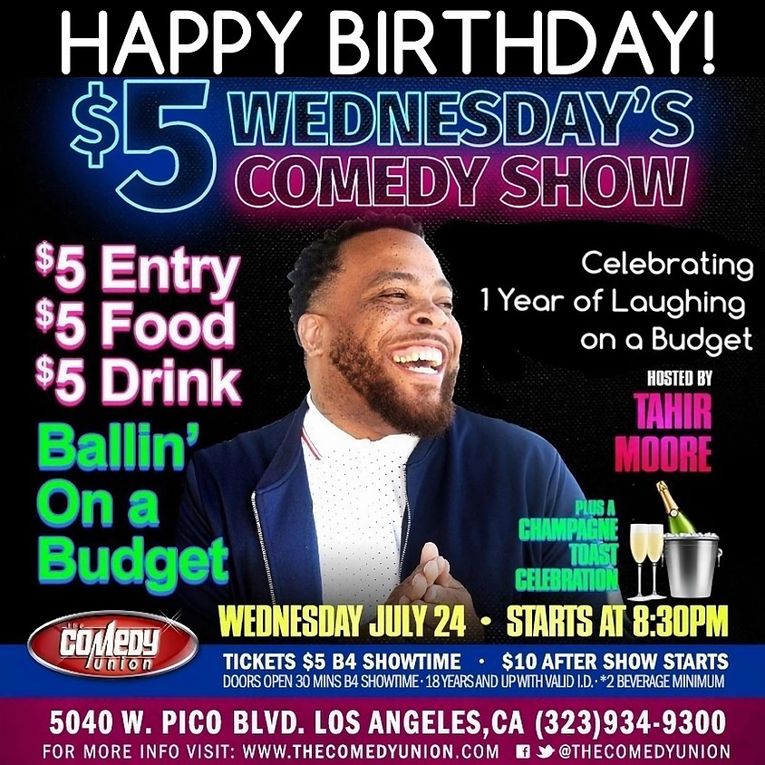 TONIGHT IS NOW SOLD OUT!!!!! $5 Wednesday's Comedy Show - 8:30 PM
