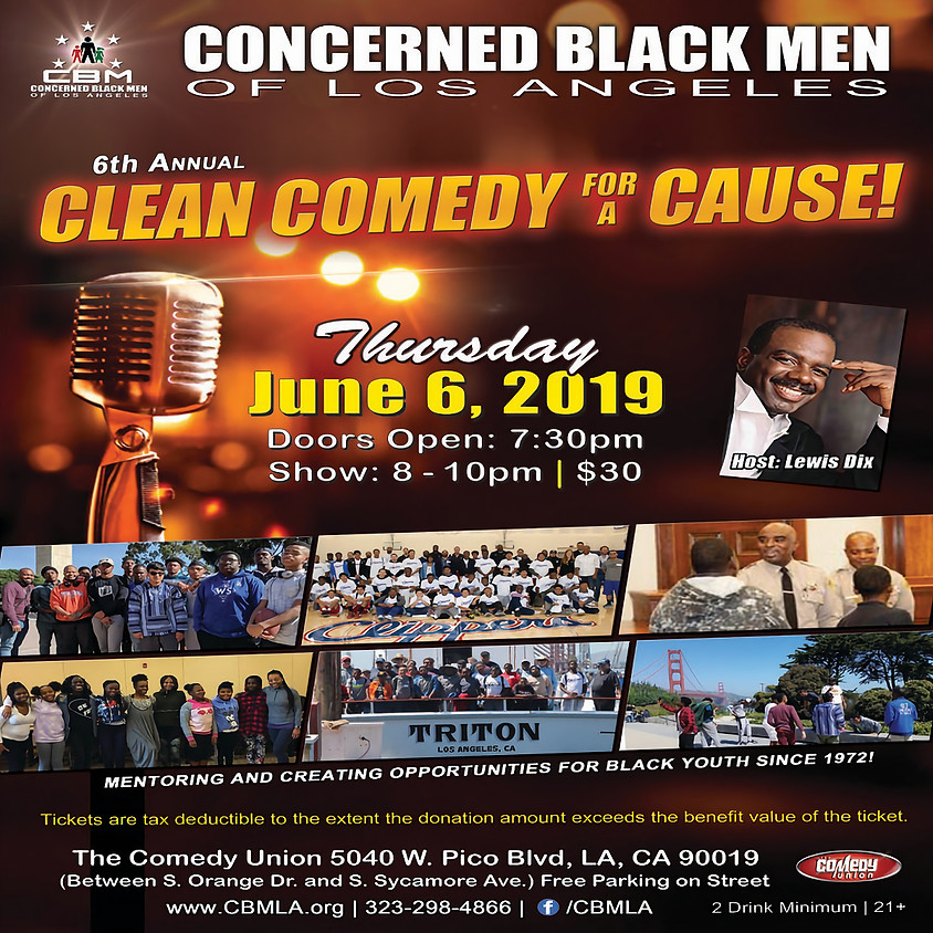 *SPECIAL EVENT* CBMLA presents 6th Annual CLEAN COMEDY FOR A CAUSE - 8:00 PM