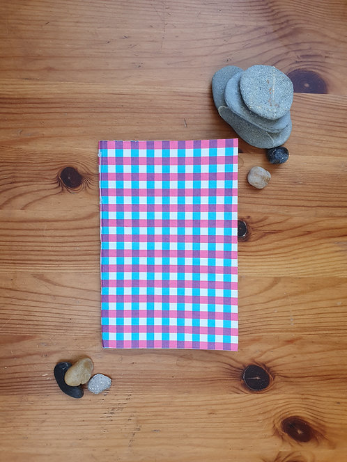Pink and Blue Gingham Notebook (paperback blank)