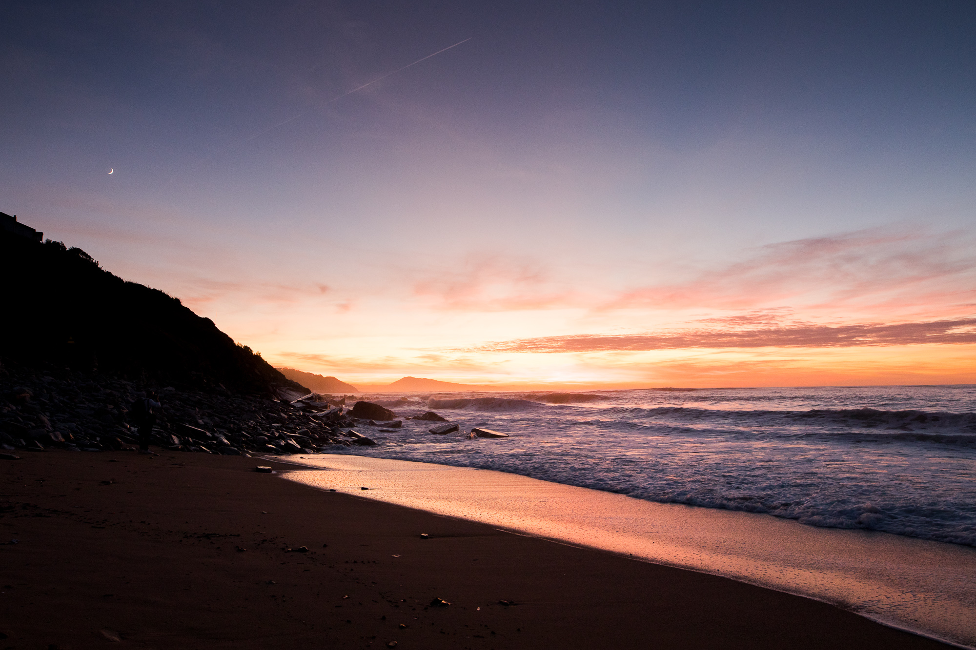 Nature mer Cote basque sunset