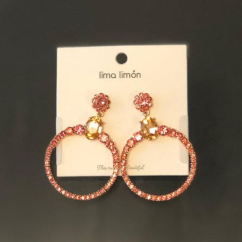 Pink Flower Circle Earrings