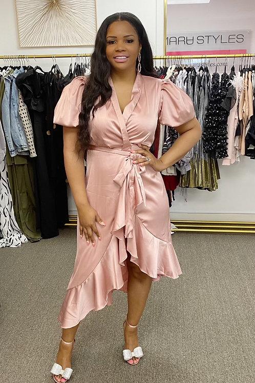 Rose Satin Dress
