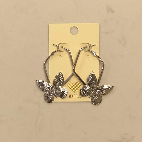 Silver Dangle Butterfly Earrings