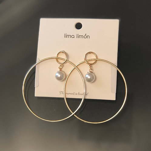 Gold Hoops with Pearl Dangle