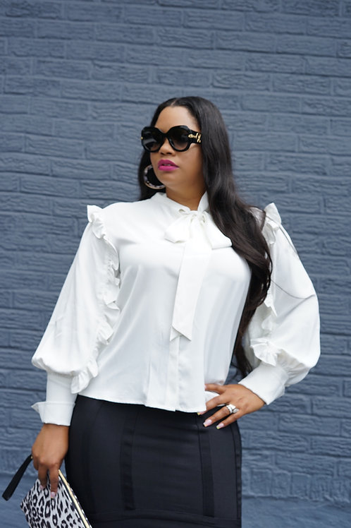 White Ruffle Sleeve Blouse