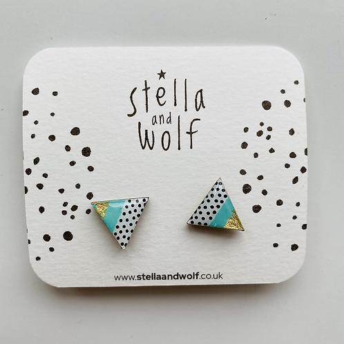 Polka dot and turquoise triangle earrings
