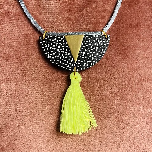 Stella and Wolf Necklace with neon tassel