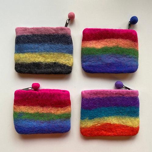 Rainbow felt purse