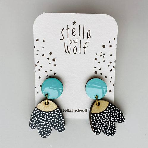 Black spotty and turquoise earrings