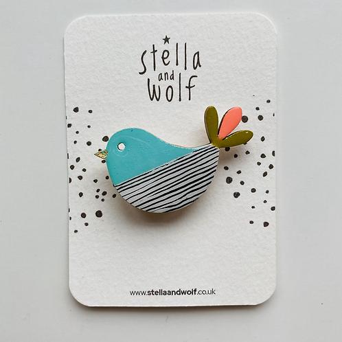 Stella and Wolf bird brooch