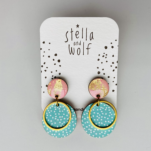 Pink and turquoise circle earrings