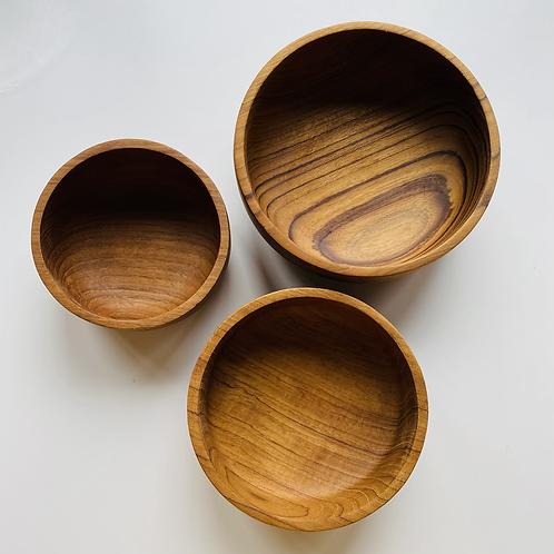 Teak serving bowls