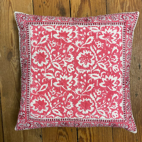 Pretty Pink Block Print Cushion
