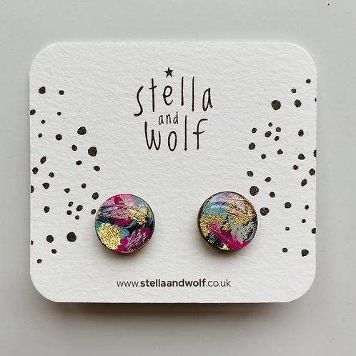 Stella & Wolf galaxy stud earrings
