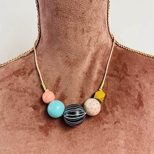 Stella and Wolf wooden bead necklace