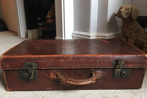 Medium vintage leather suitcase  £45