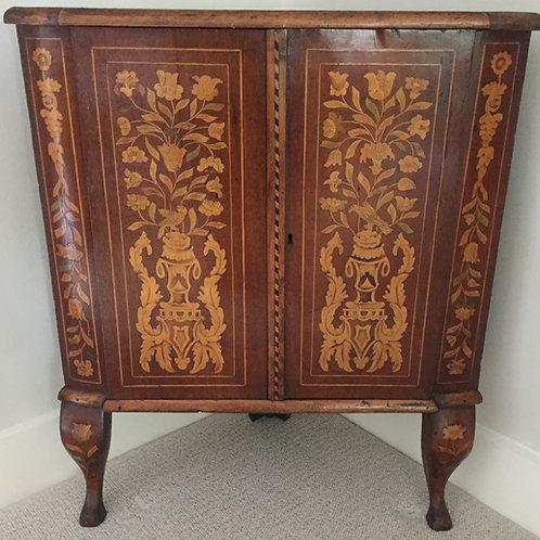 Rare Dutch Marquetry Walnut Corner Cabinet   £595