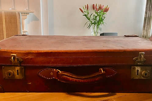 Medium vintage leather suitcase 'GLC'   £50