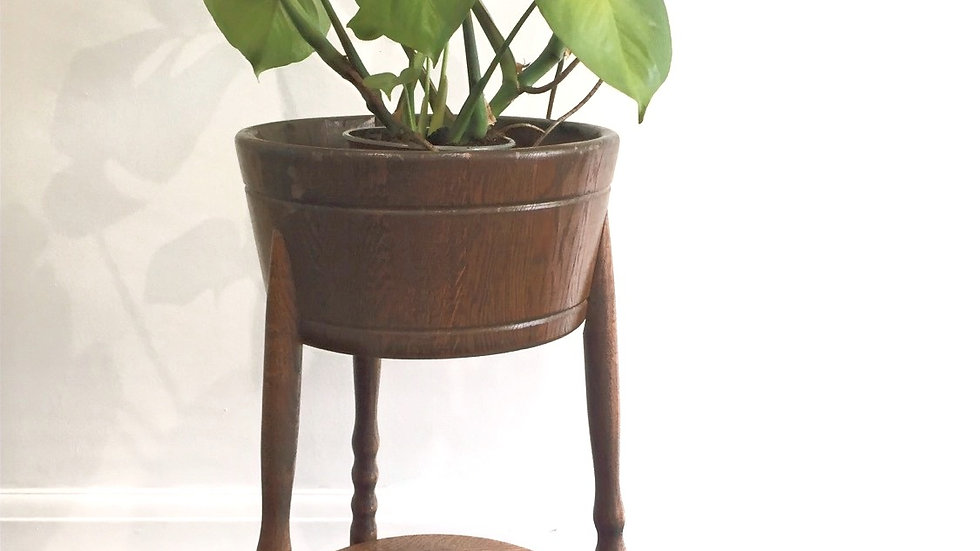 Vintage oak plant stand