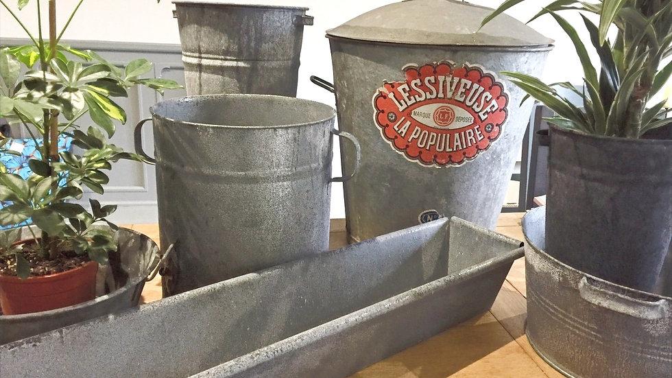 Vintage French galvanised bin