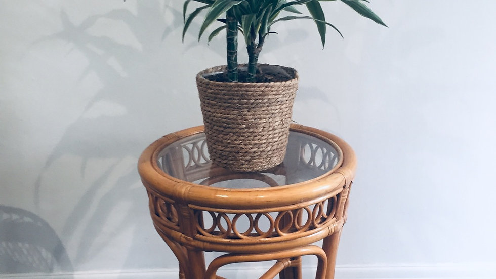 Glass topped bamboo table