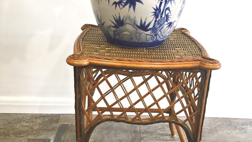 Vintage cane and rattan table