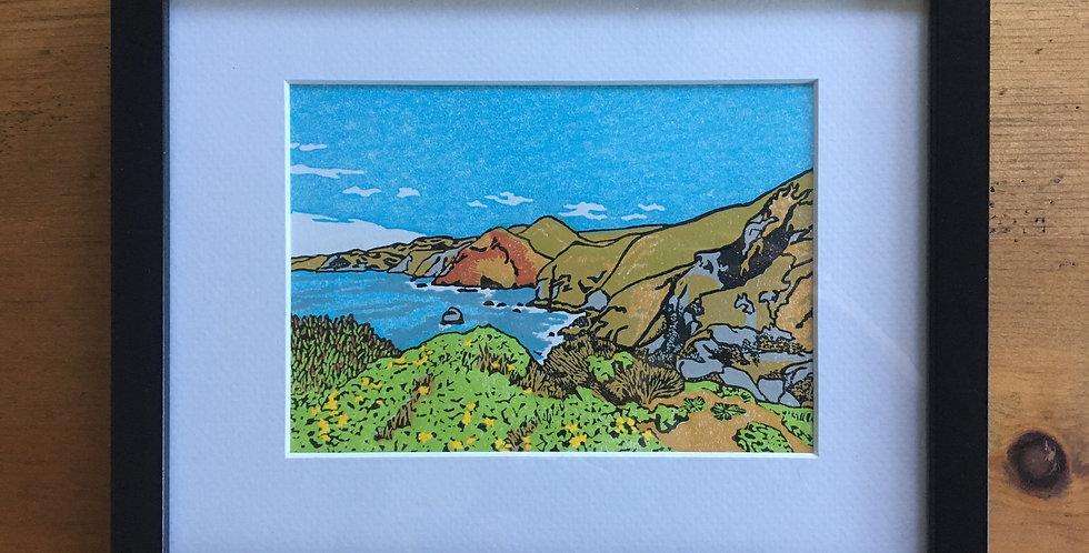 Marin Headlands Linocut Relief Print