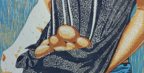 """Gathering"" Linocut Relief Print"