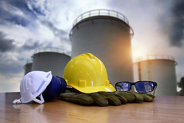 Safety gear kit standing in front of oil