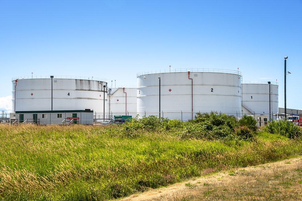 Huge white Tanks for Storage of Oil near