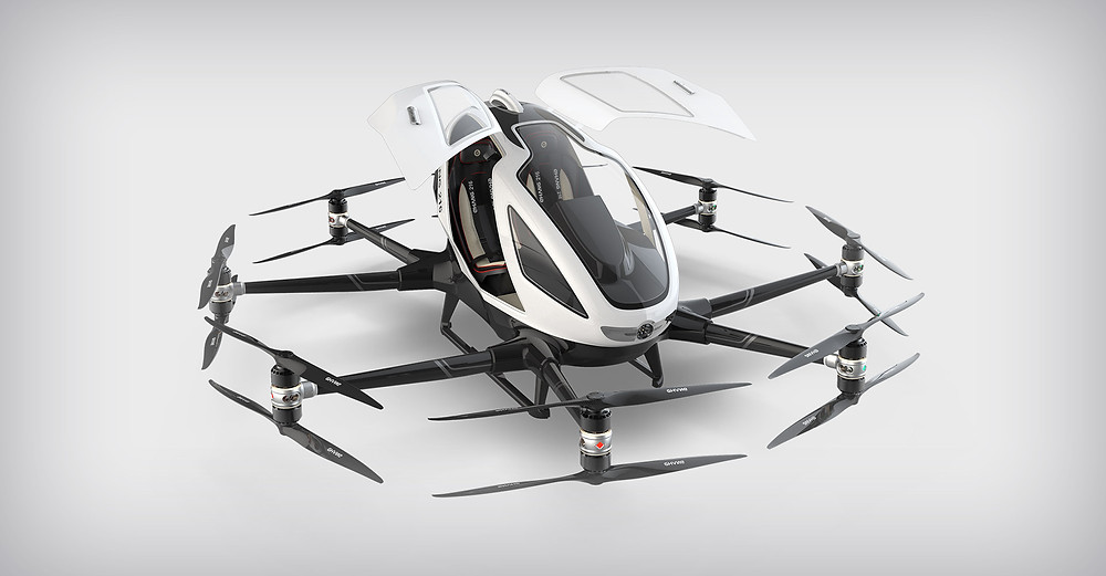 Chinese manufacturer eHang recently flew their AAV eVTOL aircraft in the US for the first time