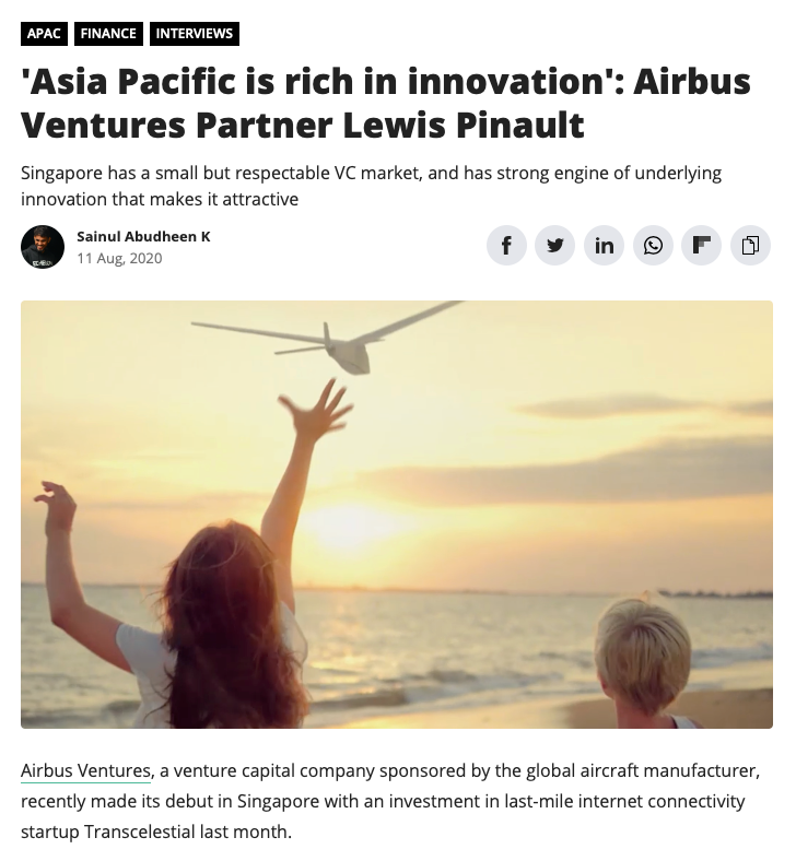 Lewis Pinault is quoted in an e27 article about Venture Capital in the Asia Pacific regions