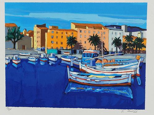 """Lithographie """"Le port à Ajaccio"""""""